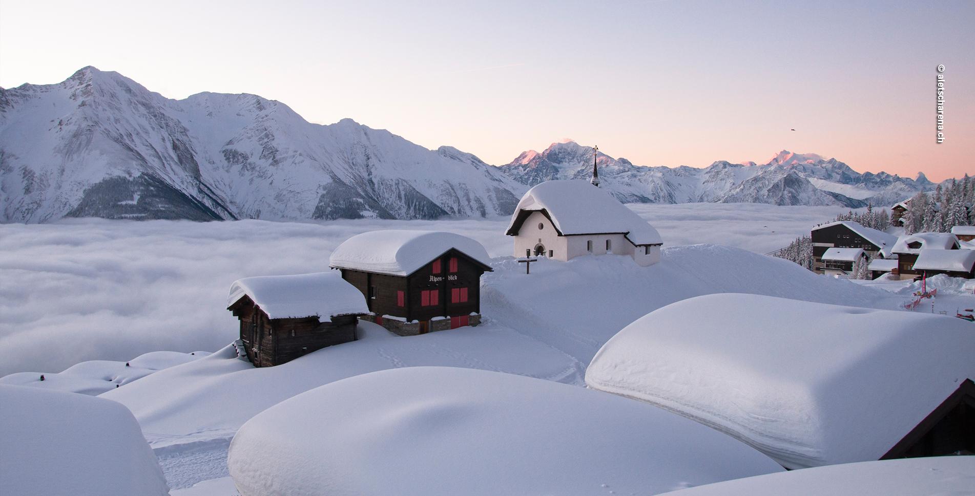 Winterwanderung von der Bettmeralp zur Riederalp und Riederfurka