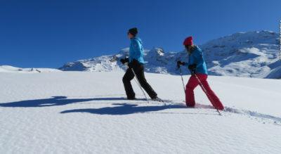 Schneeschuhtour oberhalb Engelberg auf dem Schneeschuhtrail Obertrübsee gehts rund um den Trübsee mit Blick auf den den schneebedeckten Titlis