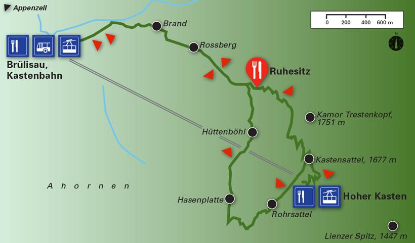 Wanderung Brülisau Ruhesitz Kastensattel Hoher Kasten