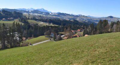 Wanderung von Kaien im Appenzellerland, nähe Heiden, hinauf zum Kaienspitz,1121 m.ü.M., mit toller Feuerstelle und weiter via Grub zum Fünfländerblick, 898 m.ü.M., ebenfalls mit Grillstelle, mit Ziel in Rorschach am Bodensee.
