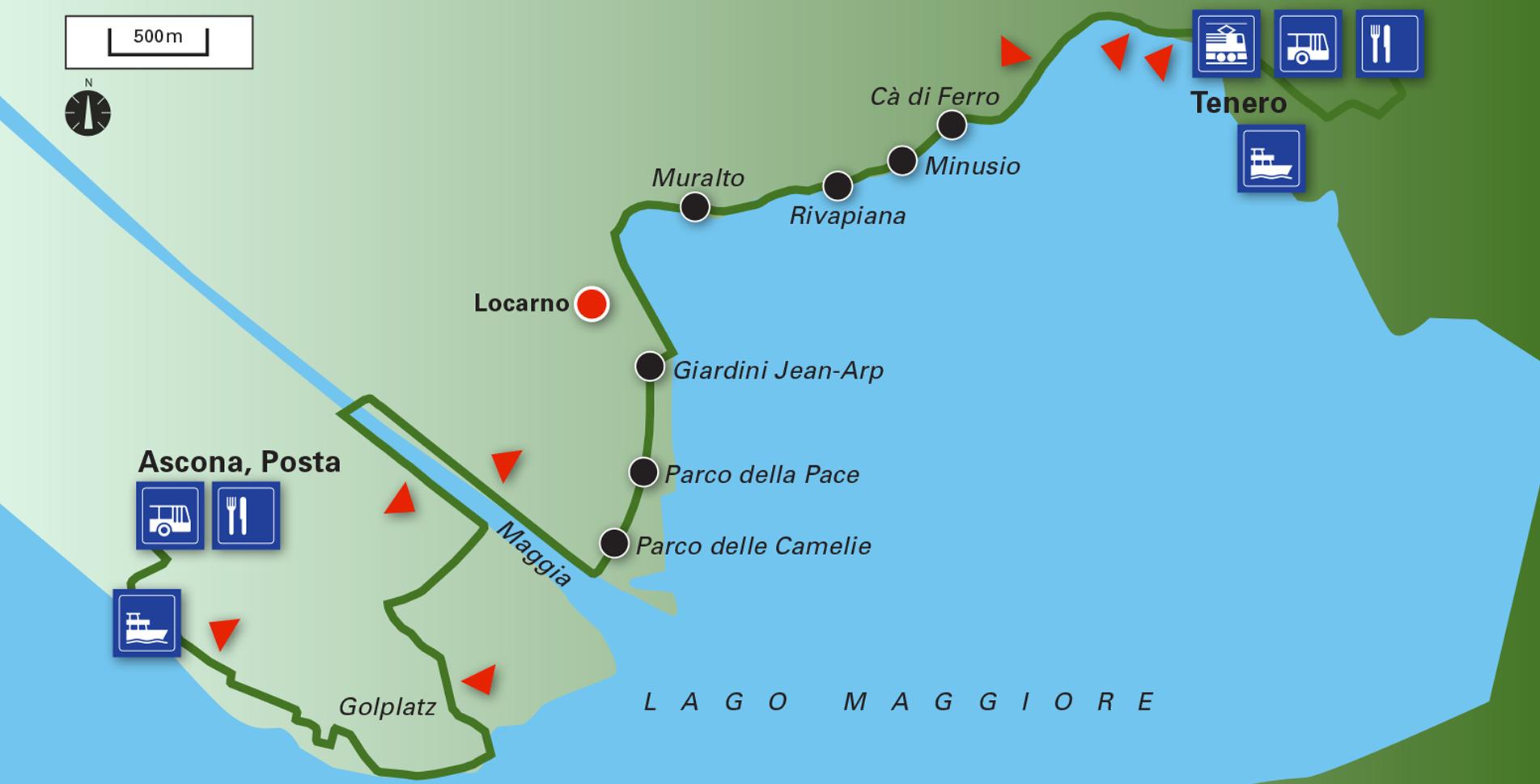 Wanderung von Tenero via Locarno nach Ascona am Lago Maggiore entlang