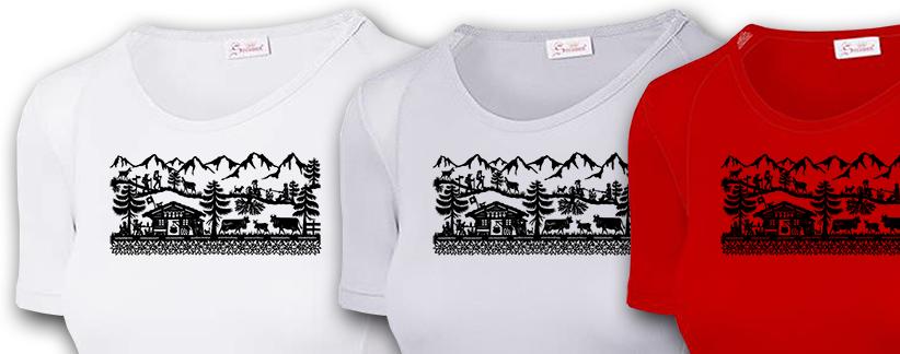 Atmungsaktive, schnelltrocknende und superleichte Wander-T-Shirts «WanderWeg» von der «Scherischnitt»-Künstlerin Beatrice Straubhaar