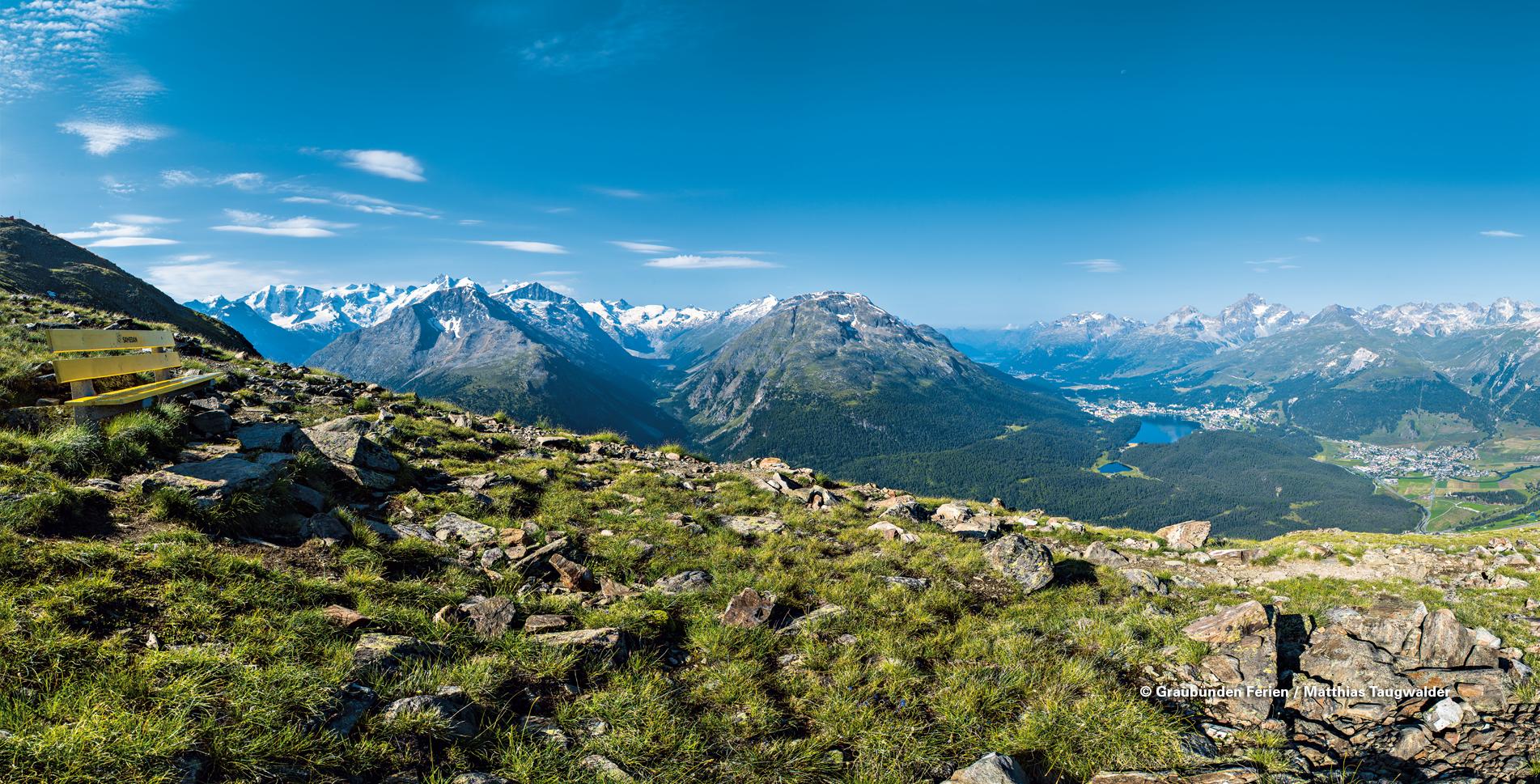 Klimaweg oberhalb Pontresina von Muottas Muragl zur Alp Languard