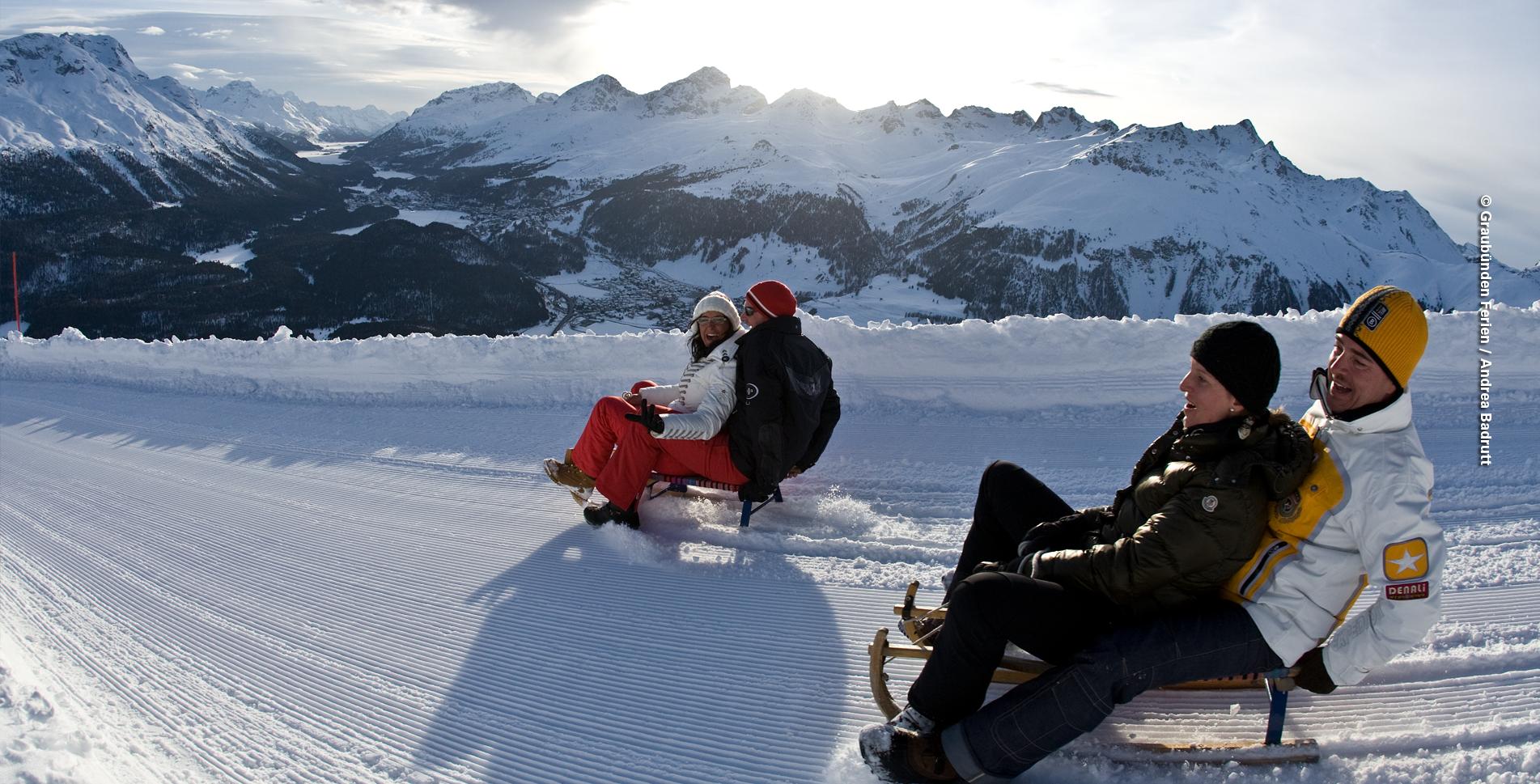 Schneeschuhtour / Schneeschuhtrail (Philosophenweg) auf Muottas Muragl, nähe Samedan, Pontresina und St. Moritz