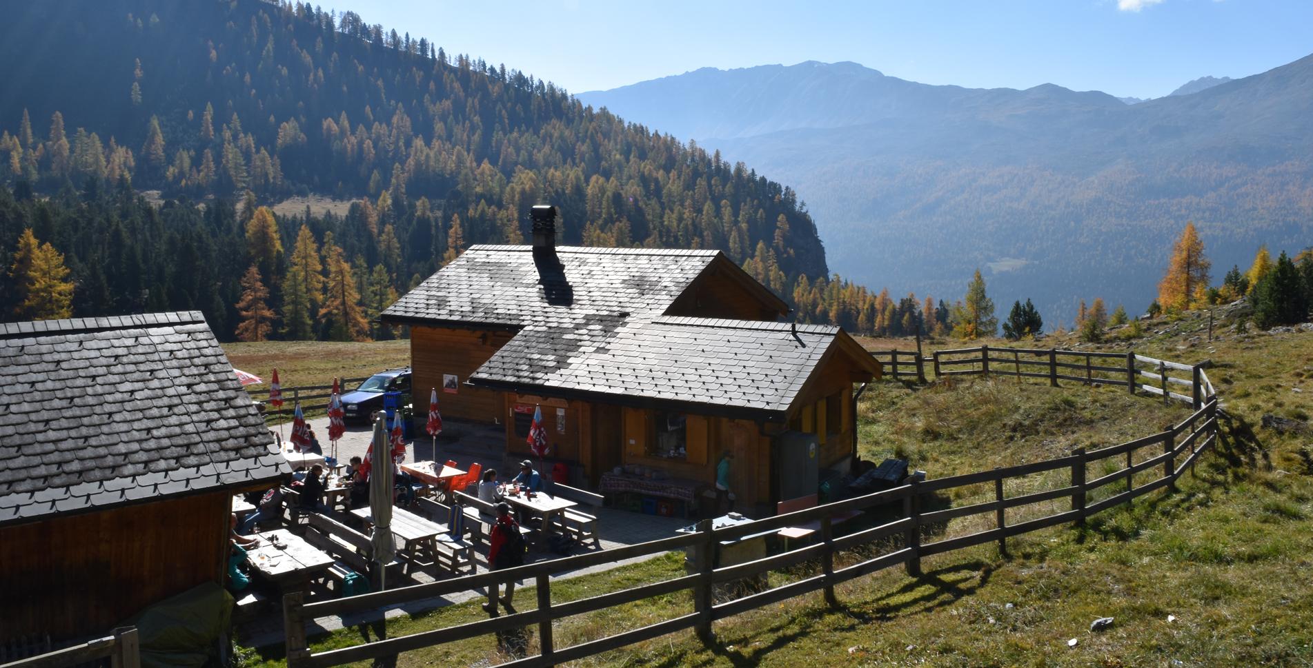 Wanderung im Nationalpark vom Ofenpass nach Lü auf dem Senda Val Müstair (Münstertal)
