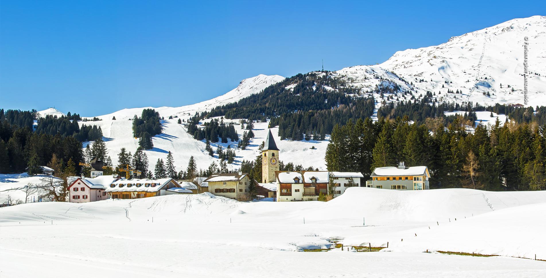 Winterwanderung von Parpan, nördlich von Valbella und Lenzerheide, auf dem Mittelberg-Weg 207 via Restaurant Tschugga Parpan, Tschuggen, Alpkäserei Parpan, Mittelberg und wieder zurück nach Parpan