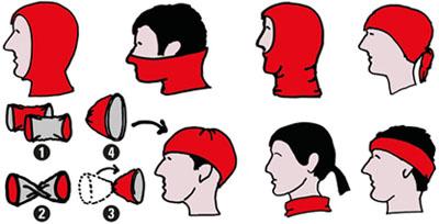 Multifunktionales Schlauchtuch / Schlauchschal mit wärmendem Fleece und reflektierendem Streifen. Alles in einem: Stirnband, Halstuch, Mütze, Sturmhaube oder Piratentuch. Der ideale Kälteschutz.