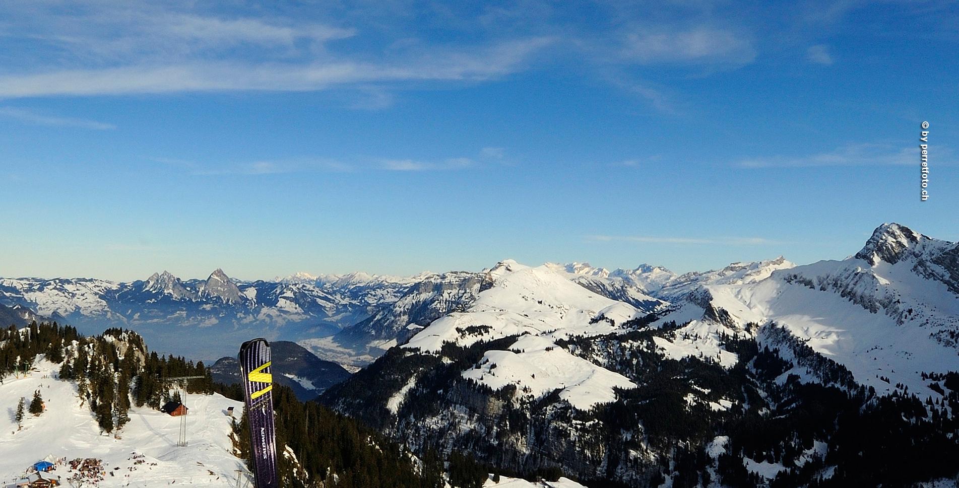 Schneeschuhtour auf dem Schneeschuh-Trail von der Klewenalp, oberhalb Beckenried, zur Stockhütte, oberhalb Emmetten