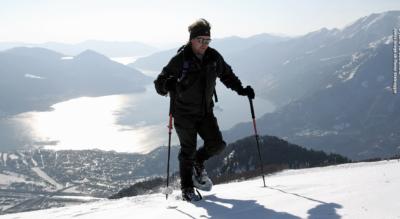 Schneeschuhtour im Tessin oberhalb Locarno Orselina von der Cardada auf die Cimetta