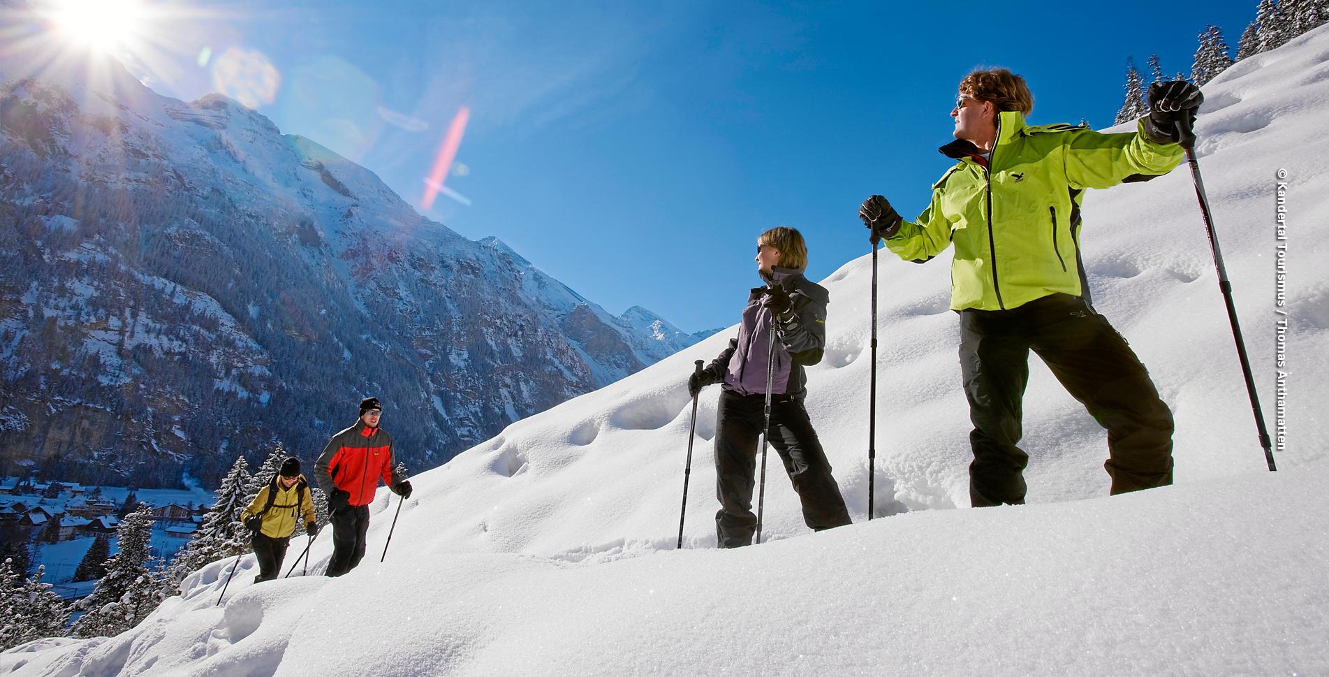 """Schneeschuhtour von Kanderteg im Kandertal auf dem Höh Trail hinauf zum Aussichtspunkt Risete-Egge"""" und durch den Höhwald und wieder zurück nach Kandersteg"""