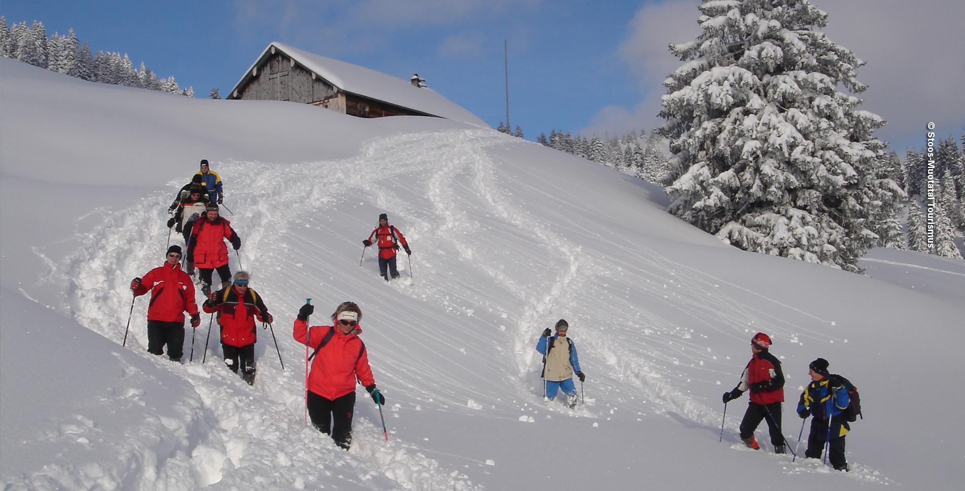 Schneeschuhtour / Schneeschuhwanderung von Oberberg St. Karl, oberhalb Illgau, im Muotathal via Oberzimmerstalden, Sternenegg, Ober Altberg, Eseltritt, Chaltenbrunnen, Gasthaus Oberberg und zurück nach St. Karl
