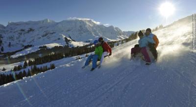Schneeschuhtour / Schneeschuhwanderung von Lehmen / Treibern im Weissbachtal, nähe Weissbad, via Berggasthaus Ahorn, Wartegg, Studen auf dem Kronberg im Appenzell und mit einer Schlittenfahrt nach Jakobsbad