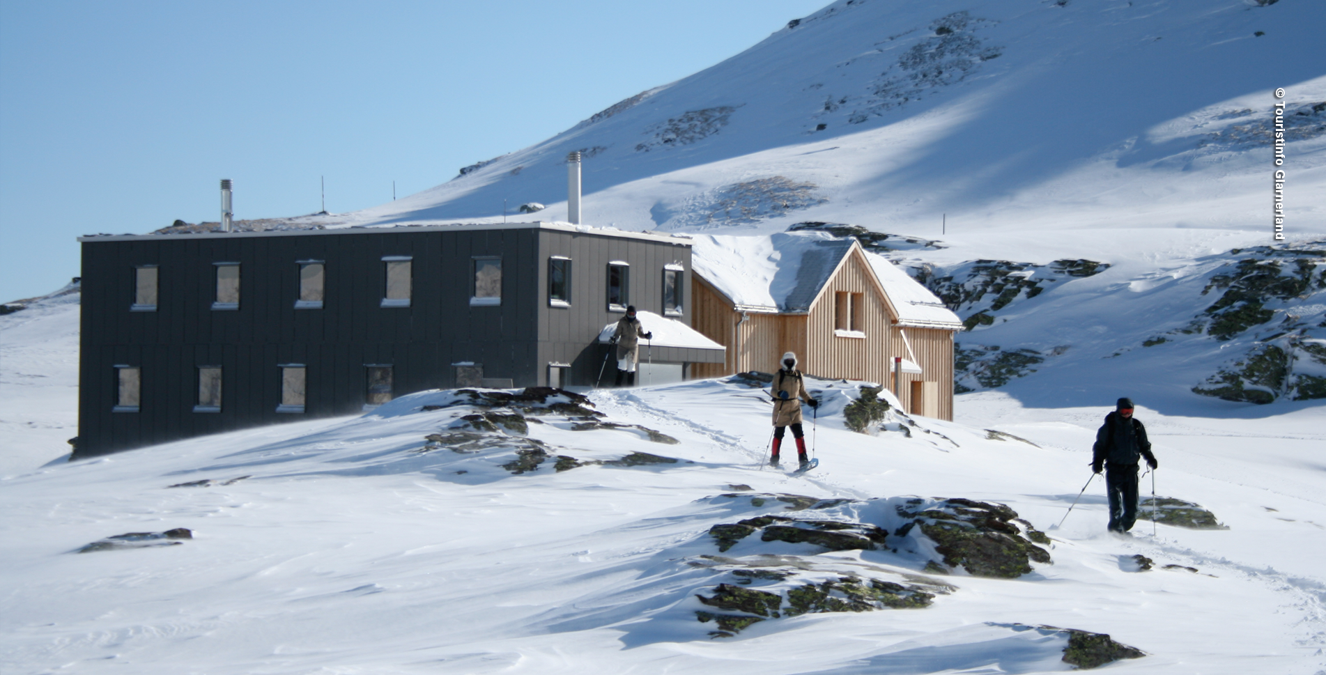 Schneeschuhtour / Schneeschuhwanderung von Mettmen, oberhalb Kies (Niederental), im Glarnerland, via Garichti Stausee, Niederenalp, Sunnenbergfurggelen zur Leglerhütte SAC