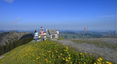 Wanderung auf dem Höhenweg von der Schwägalp, unterhalb des Säntis, via Chammhaldenhütte, Langälpli auf den Kronberg und weiter via Jakobsquelle, St. Jakob, Berggasthaus Scheidegg, Vorder Wasserschaffen, Weberen nach Appenzell
