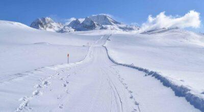 Winterwanderung oberhalb von Splügen, in der Region Rheinwald, auf dem Tambo Panoramaweg bei der Bergstation Tanatzhöhi