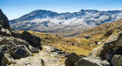 Wanderung auf der Via Spluga von Splügen nach Isola via Marmorbrücke, Bodmastafel, Schwarzhütte, Splügenpass, Monte Spluga, Lago di Monte Spluga, Val del Cardinello / Cardinelloschlucht