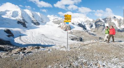 Wanderung von der Diavolezza, nähe Pontresina und Bernina / Berninapass, auf den Munt Pers mit Blick auf den Morteratschgletscher und wieder zurück
