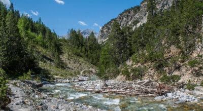 Wandern im Schweizerischen Nationalpark von Punt la Drossa nach Il Fuorn beim Hotel Parc Naziunal Il Fuorn