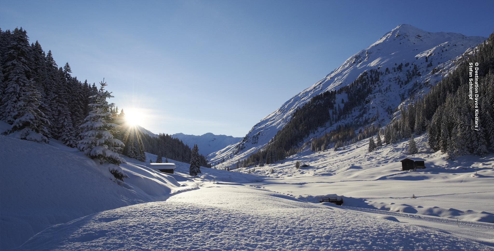 Winterwanderung von Davos ins Dischmatal bis zum Restaurant Teufi