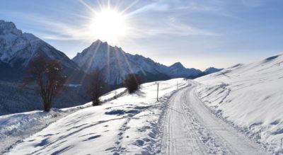 Sonnige und leichte Winterwanderung von Sent im Unterengadin – nähe Scuol – zum Bergrestauant Vastur mit der Möglichkeit die 3 Kilometer lange Strecke zurück nach Sent zu schlitteln.