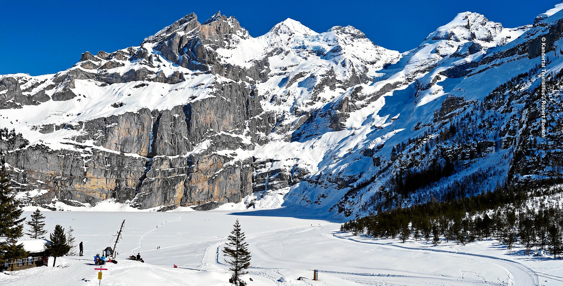 Winterwanderung von Oeschinen zum Oeschinensee oberhalb Kandersteg