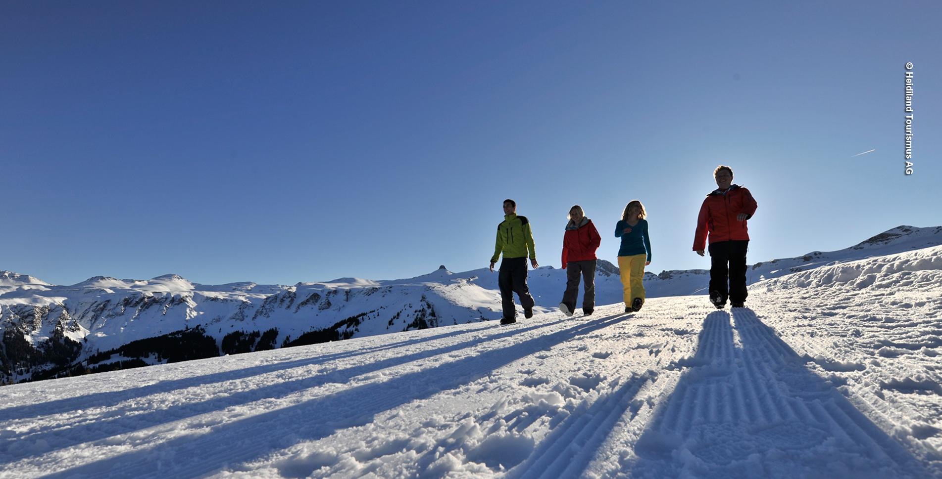 Winterwanderung auf dem Panoramahöhenweg Pizol, oberhalb Wangs und Bad Ragaz, von der Pizolhütte via Laufböden und wieder zurück zur Pizolhütte