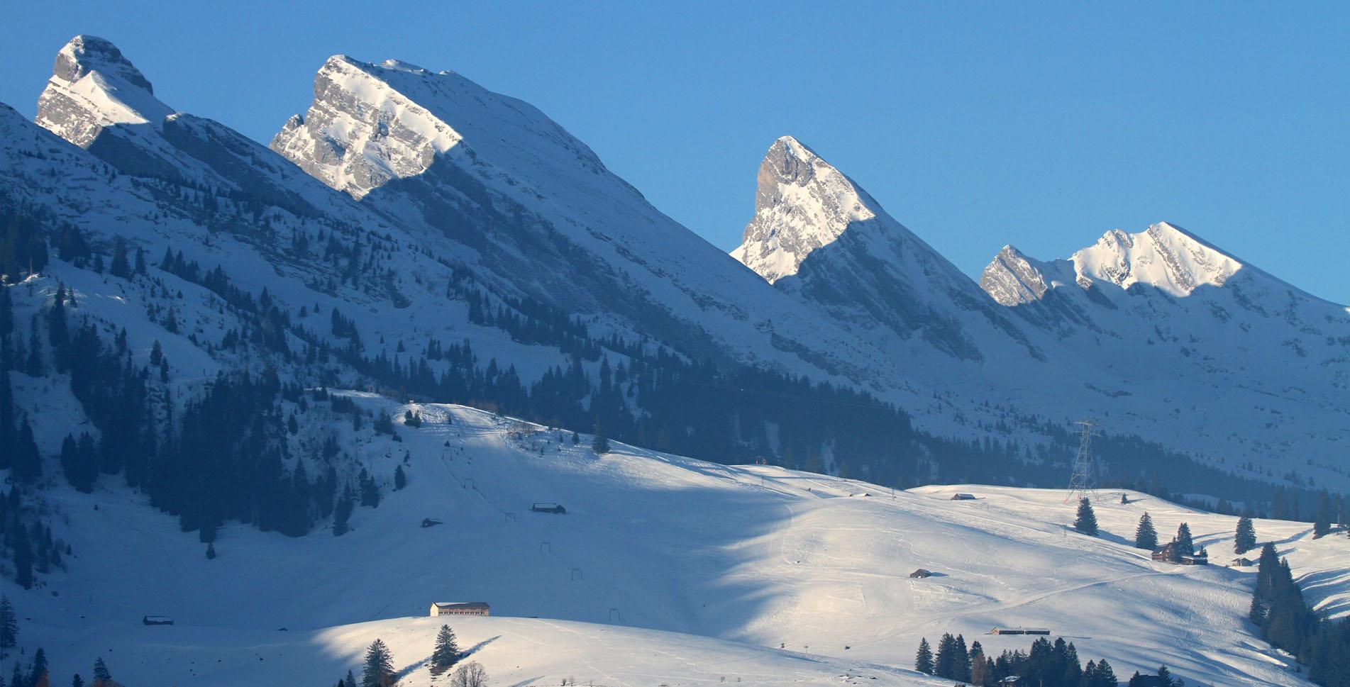 Winterwanderung von Wildhaus im Toggenburg auf die Hochebene Gamplüt und zum Aussichtspunkt Alp Gros und wieder zurück auf dem Rundweg nach Wildhaus