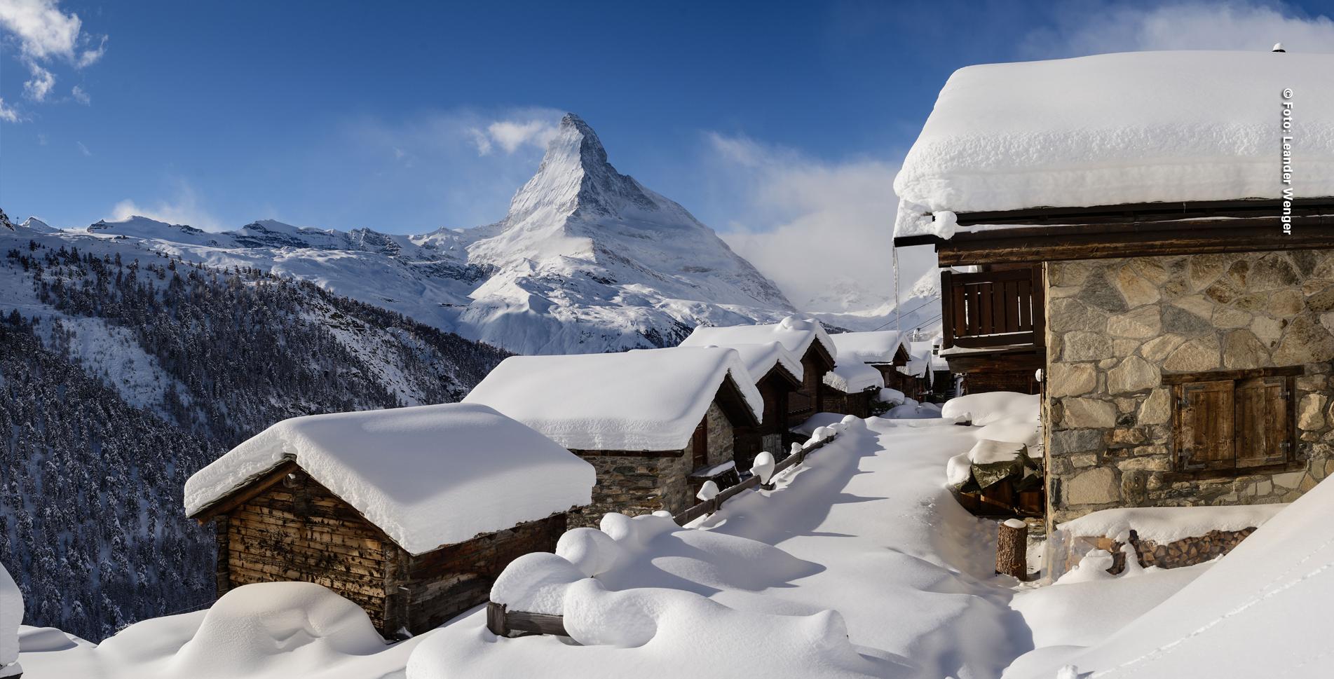Winterwanderung von Zermatt via Findeln (Chez Vrony) auf die Sunnegga mit herrlicher Aussicht auf das Matterhorn