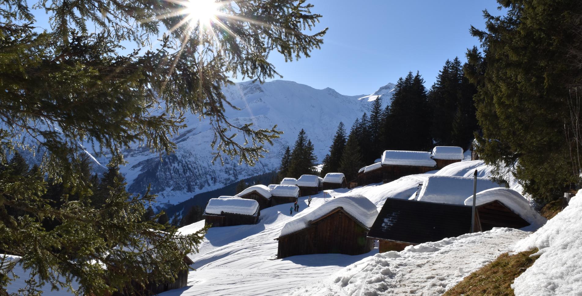 Winterwanderung von Elm Ämpächli im Sernftal via Bischofalp zur Munggä-Hüttä und wieder zurück nach Ämpächli mit Schlitteln nach Elm