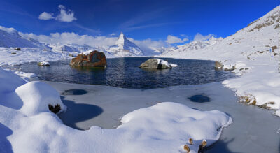 Winterwanderung in Zermatt von Blauherd via Stellisee zum Berggasthaus Fluhalp