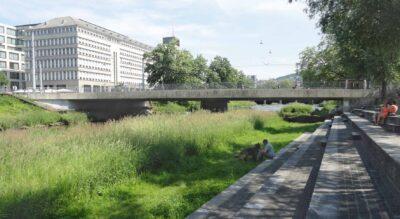 Spaziergang / Wanderung in der Stadt Zürich von der Gessneralle, nähe Zürich HB, an der Sihl entlang via Schanzengraben zum Alten Botanischen Garten und weiter an den Bürkliplatz am Zürichsee